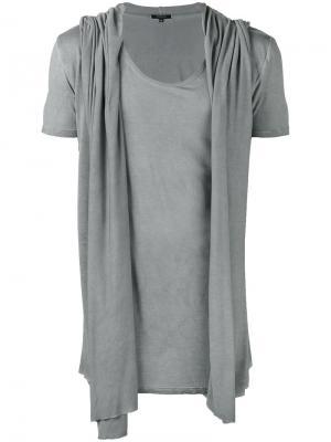 Драпированная футболка с капюшоном Unconditional. Цвет: серый