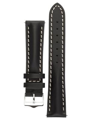 Водонепроницаемый ремешок для часов из кожи теленка с покрытием от царапин, ширина 18 до 24 мм Signature. Цвет: черный