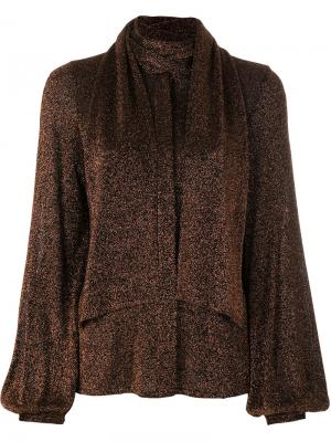 Металлизированная блузка с декоративным шарфом Dondup. Цвет: металлический