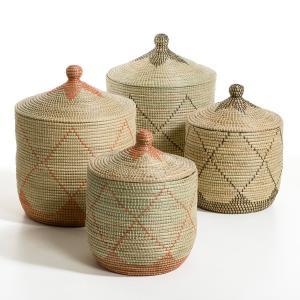 Корзина из рисовой соломы Louna, малая модель, высота 48 см AM.PM.. Цвет: экрю/ красный,экрю/ черный
