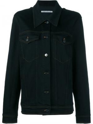 Джинсовая куртка с украшением из кристаллов Alessandra Rich. Цвет: синий