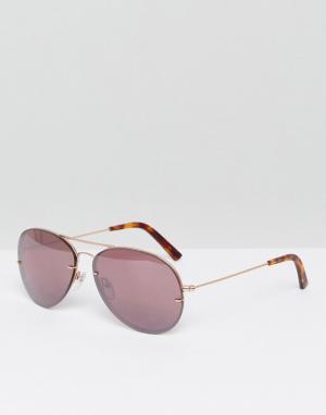 Pala Розовые солнцезащитные очки-авиаторы без оправы. Цвет: розовый