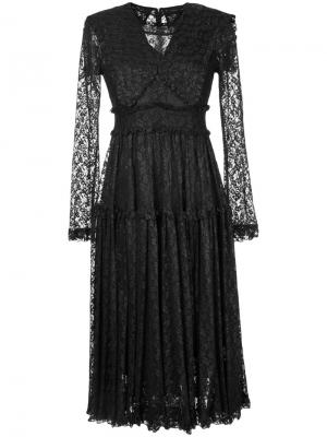 Foiled lace frilled dress G.V.G.V.. Цвет: чёрный