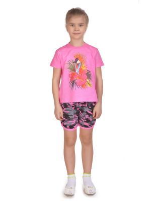 Комплект: футболка, шорты Sladikmladik. Цвет: розовый