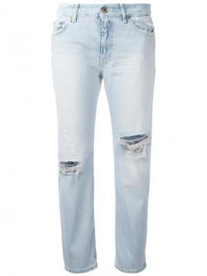 Укороченные джинсы с рваными деталями Dondup. Цвет: синий