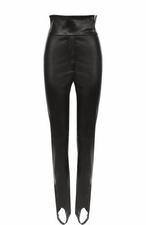 Кожаные брюки-скинни со штрипками DROMe. Цвет: черный