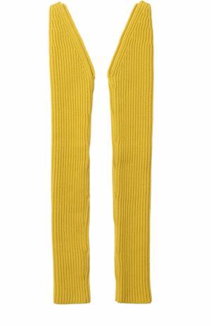 Вязаные рукава из смеси шерсти и кашемира CALVIN KLEIN 205W39NYC. Цвет: желтый