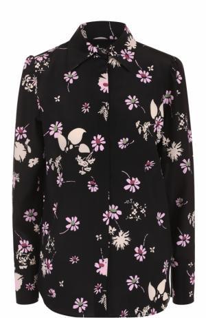 Шелковая блуза с цветочным принтом Valentino. Цвет: черный