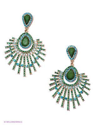 Серьги Infiniti. Цвет: зеленый, голубой