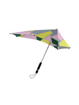 Зонт-трость senz Original playing court tracks. Цвет: зеленый, бледно-розовый, светло-желтый