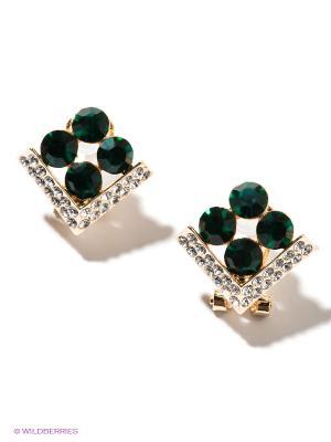 Серьги Lovely Jewelry. Цвет: золотистый, зеленый