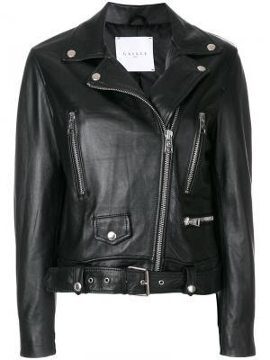 Укороченная байкерская куртка Gaelle Bonheur. Цвет: чёрный