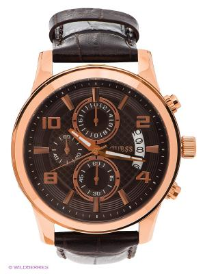 Часы GUESS. Цвет: темно-коричневый, золотистый