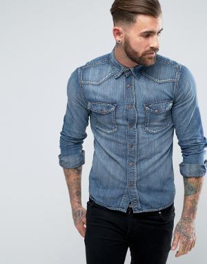 Nudie Jeans Выбеленная джинсовая рубашка Co Jonis. Цвет: синий