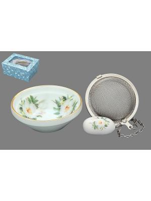 Набор для заваривания чая Белый шиповник Elan Gallery. Цвет: белый, зеленый