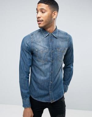 Diesel Приталенная джинсовая рубашка D-BROOME. Цвет: синий