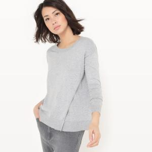 Пуловер с круглым вырезом из хлопка/шелка La Redoute Collections. Цвет: светло-розовый,серый меланж,слоновая кость,черный