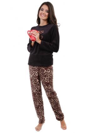 Комплект: джемпер + брюки SMART LOUNGEWEAR. Цвет: бежевый, черный (черный с рисунком)