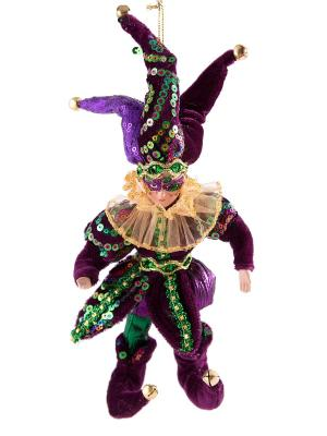 Игрушка новогодняя Шут цвет фиолетовый 23см Русские подарки. Цвет: зеленый, бордовый, фиолетовый