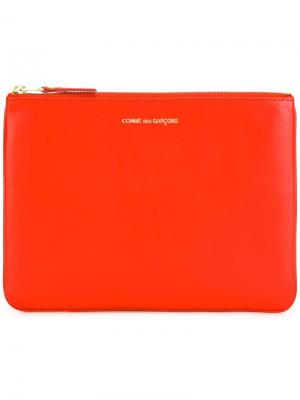 Клатч с застежкой-молнией Comme Des Garçons Wallet. Цвет: жёлтый и оранжевый