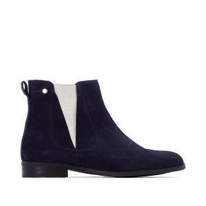Ботинки-челси кожаные с металлизированными эластичными вставками MADEMOISELLE R. Цвет: синий морской,черный