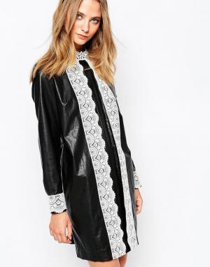 Gat Rimon Черное платье в кожаном стиле Okky. Цвет: черный