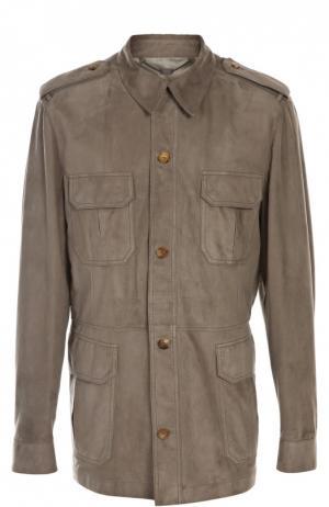 Замшевая куртка Billionaire. Цвет: темно-бежевый