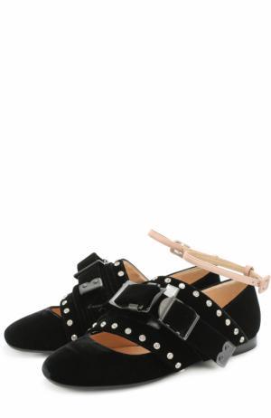 Бархатные балетки с ремешками и кристаллами No. 21. Цвет: черный