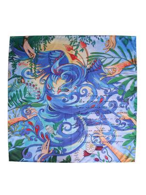 Платок с авторским арт-принтом Птица цвета ультрамарин из твилла Оланж Ассорти. Цвет: голубой
