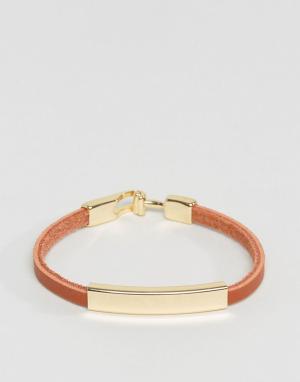 DesignB London Светло-коричневый кожаный браслет эксклюзивно для ASOS. Цвет: рыжий