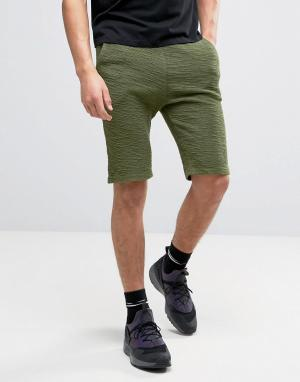SikSilk Фланелевые трикотажные шорты цвета хаки. Цвет: зеленый
