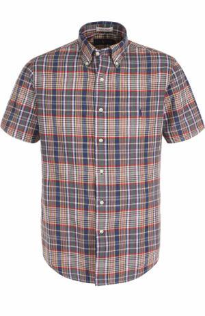 Хлопковая рубашка с короткими рукавами и воротником button down Polo Ralph Lauren. Цвет: зеленый