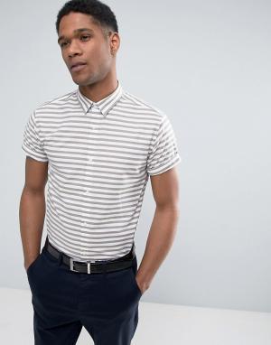 Jack & Jones Облегающая рубашка в полоску с короткими рукавами. Цвет: светло-бежевый
