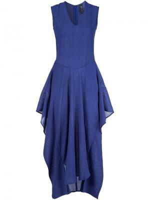 Платье Silia c V-образным вырезом Zero + Maria Cornejo. Цвет: синий
