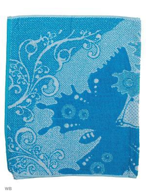 Полотенце махровое пестротканое жаккардовое Желаем счастья Авангард. Цвет: голубой, темно-синий, лазурный