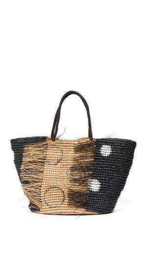Большая потрепанная объемная сумка с короткими ручками и рисунком в горошек Sensi Studio