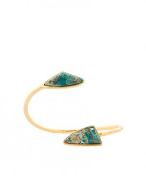 Позолоченный браслет из латуни с хризоколлами Lizzie Fortunato. Цвет: золотой, зеленый