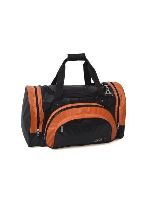 Сумка CAGIA. Цвет: черный, светло-оранжевый
