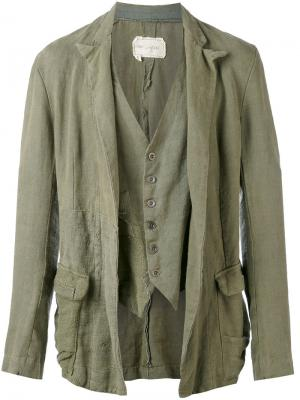Драпированный пиджак Greg Lauren. Цвет: зелёный