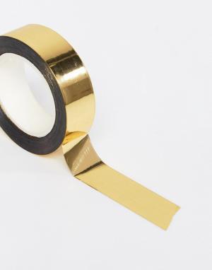Meri Золотистая клейкая лента для упаковки подарков. Цвет: мульти