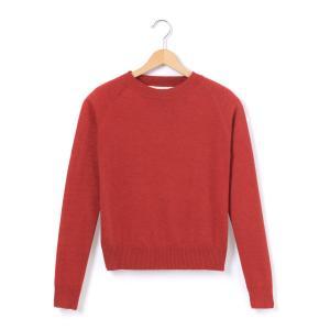 Пуловер с круглым вырезом, из тонкого трикотажа La Redoute Collections. Цвет: красный