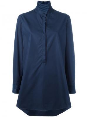 Рубашка с воротником-стойкой Akris. Цвет: синий