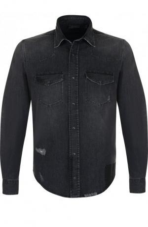 Джинсовая рубашка на кнопках с потертостями Belstaff. Цвет: серый