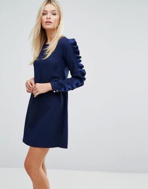 Closet London Платье с длинными рукавами и оборками. Цвет: темно-синий