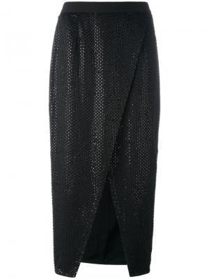 Beaded detail skirt Self-Portrait. Цвет: чёрный
