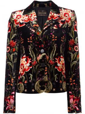 Бархатный пиджак с цветочным узором Roberto Cavalli. Цвет: чёрный
