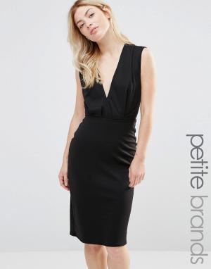 Alter Petite Платье-футляр длины миди с V-образным вырезом. Цвет: черный