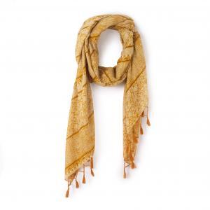 Платок с вышивкой La Redoute Collections. Цвет: желтый