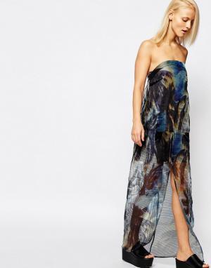 Suboo Прозрачное платье макси без бретелей с пальмовым принтом. Цвет: мульти
