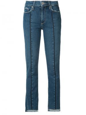 Укороченные джинсы с необработанными краями Paige. Цвет: синий